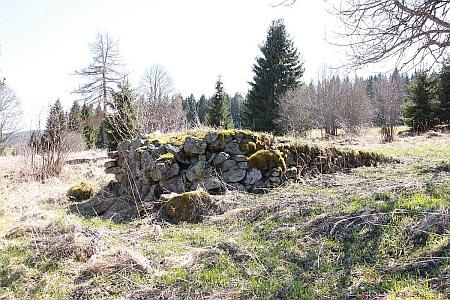 Torzo jednoho ze zaniklých stavení v Březových Ladech na snímku z roku 2015