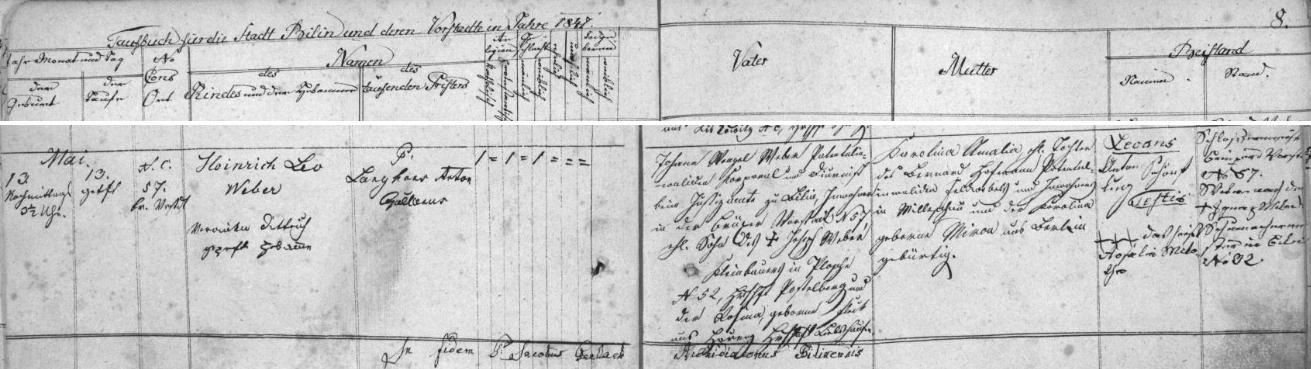 Záznam bílinské křestní matriky o jeho narození 13. května roku 1847 v domě čp. 57 na Mosteckém předměstí (Brüxer Vorstadt) - novorozencovým otcem byl patentální invalida v hodnosti kaprála a diurnista zdejšího soudního úřadu Johann Wenzel Weber, syn malorolníka v Blažimi (Ploscha) čp. 52 Josefa Webera a jeho ženy Rosiny, roz. Fleckové z Hořence (Hořenz) na panství Libčeves (Liebshausen), matkou Karolina Amalia, dcera Bernarda Hofmanna, patentálního invalidy v hodnosti feldvébla (šikovatele), bytem v Milešově (Milleschau), a Karoliny, roz. Mironové z Berlína