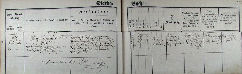 """Podle tohoto krasopisného německého záznamu kašperskohorské úmrtní matriky zesnul tu v Kašperských Horách čp. 137 na tuberkulózu (poznamenáno """"unverhofft"""", tj. nenadále) dne 29. června roku 1899 - narozen 13. května 1847 v Bílině dožil se jako choť Rosy Weberové, roz. Petraschka z Dobré Vody (Gutwasser) u Hartmanic a ředitel kašperskohorské dívčí měšťanské školy pouhých 52 let a byl 2. července v Kašperských Horách na hřbitově usv.Anny i pochován do šumavské země"""