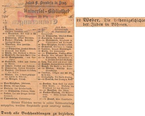 I na tomto porušeném inzerátu na zadní straně obálky jednoho ze svazečků edice Jüdische Universal-Bibliothek lze číst Weberovo jméno a titul jeho práce pod číslem 22. v pořadí