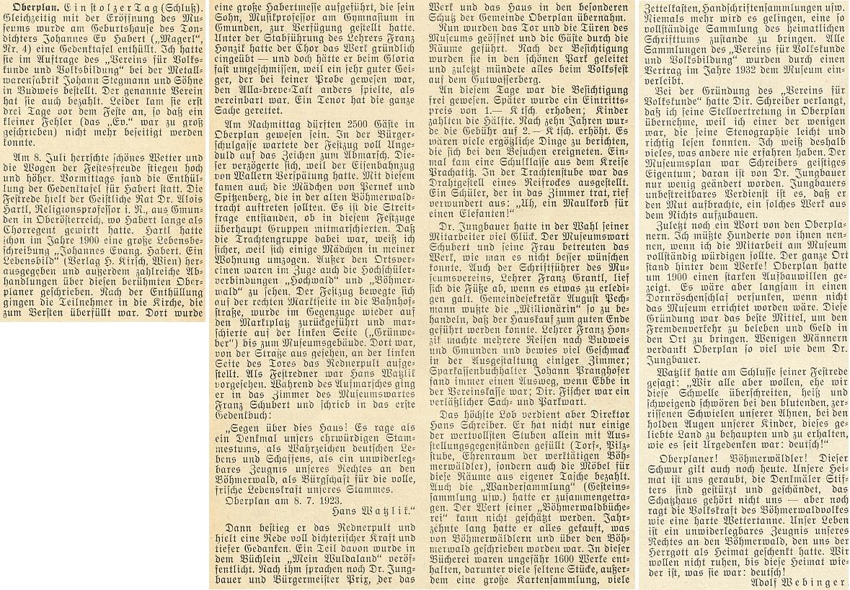 Na stránkách krajanského měsíčníku, který založil a řídil, vzpomněl v roce 1953 zajímavými podrobnostmi 30. výročí založení muzea Šumavy v Horní Plané