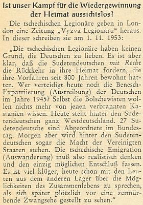 """Ve vánočním čísle Hoam! zveřejnil roku 1953 přeloženou citaci článku z londýnského listu československých legionářů v exilu, který se zasazuje o právo sudetských Němců na návrat domů a Benešovu expatriaci označuje za """"spálené kaštany"""", s nimiž už nechtějí mít nic společného ani """"bolševici"""""""