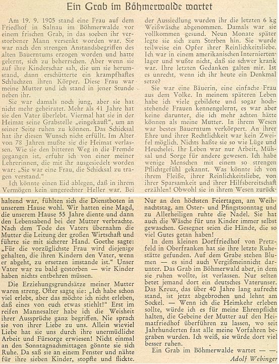 K svátku Dušiček roku 1957 se takto rozepsal o svém otci a zejména matce, která svého muže přežila o více než 41 let