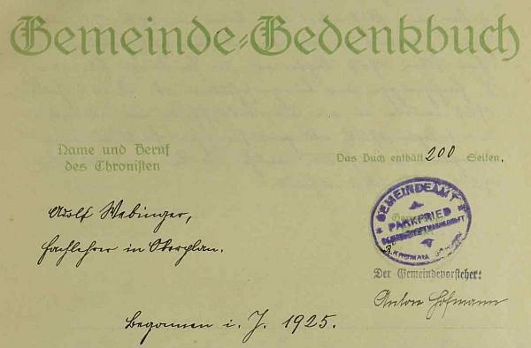 Vedl od roku 1925 kroniku obce Parkfried (dnes Bělá)...