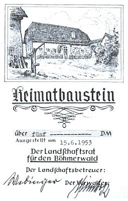 Kresba rodného domu Stifterova v Horní Plané zdobí jím podepsaný doklad o příspěvku na stavbu Domu Šumavanů v Lackenhäuser, který byl později nazván právě po něm