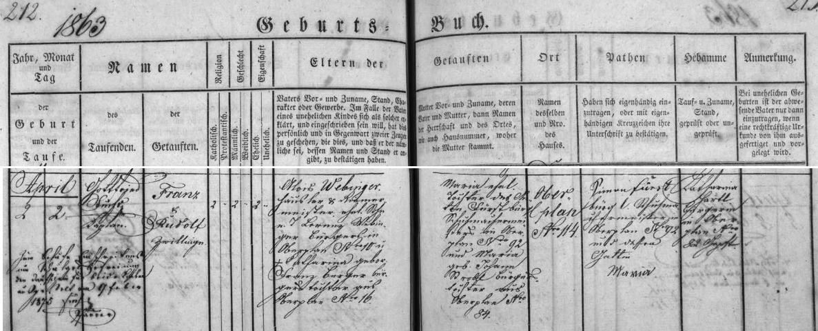 Narodil se podle záznamu v hornoplánské křestní matrice jako Rudolf Webinger, jedno z dvojčat narozených tu v domě čp. 114 dne 2. dubna roku