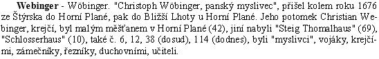 """Takto zaznamenal hornoplánský letopisec Franz Fischer """"rozrod"""" zdejších Webingerů"""