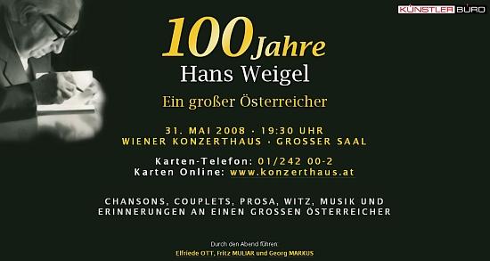Pozvánka na galavečer ke 100. výročí jeho narození