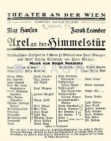 """Náhled kopie """"divadelní """"cedule"""" k hudební veselohře, do níž napsal k hudbě Ralpha Benatzkyho texty písní - větší snímek je k dispozici na webu Austria-Forum"""