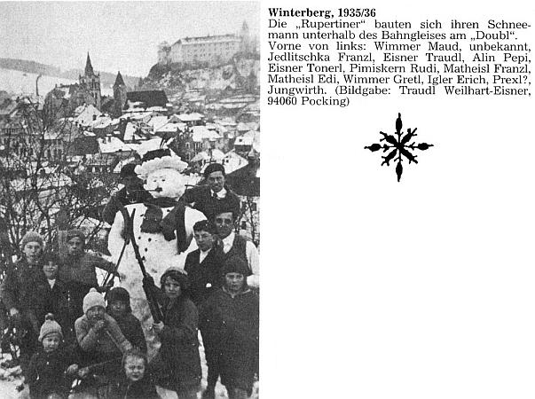 """Na snímku ze zimy 1935/1936, který poslala do redakce krajanského měsíčníku, je zachycena spolu s jinými dětmi z vimperského """"Rupertina"""" (to zařízení se jmenovalo podle Ruperta Steinbrenera) mezi nimiž je i Franz X. Jedlitschka a Franz Matheisl, při stavbě sněhuláka na návrší zvaném """"Doubl"""""""