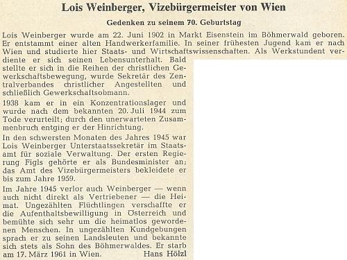 Připomínku jeho nedožitých sedmdesátin napsal do krajanského měsíčníku Hans Hölzl