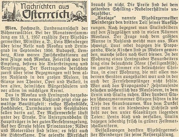 Zpráva o besedě se šumavskými krajany k jeho cestě do SSSR v roce 1956 (s tehdy dosud čerstvou Stalinovou mrtvolou v mauzoleu na Rudém náměstí)