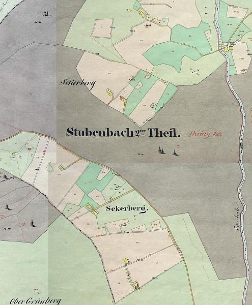 Mapa Stabilního katastru z roku 1837, revidovaná v 80. letech 19. století, zachycuje Seckerberg (Sekerberg) takto