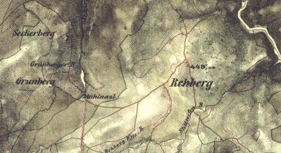 Seckerberg na staré vojenské mapě