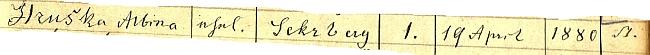 """Albina Hruška, narozená 19. dubna roku 1880 v """"Sekrbergu"""" čp. 1 je v rejstříku křestní matriky farní obce Rehberg (dnes Srní) psána ještě s háčkem"""