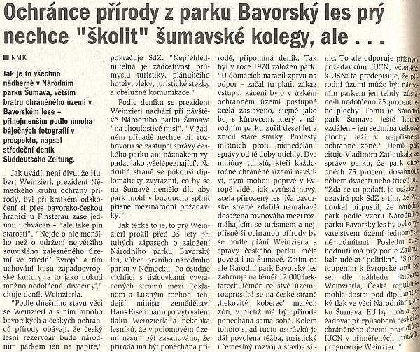 Článek s citací jeho názorů na stránkách českobudějovického deníku