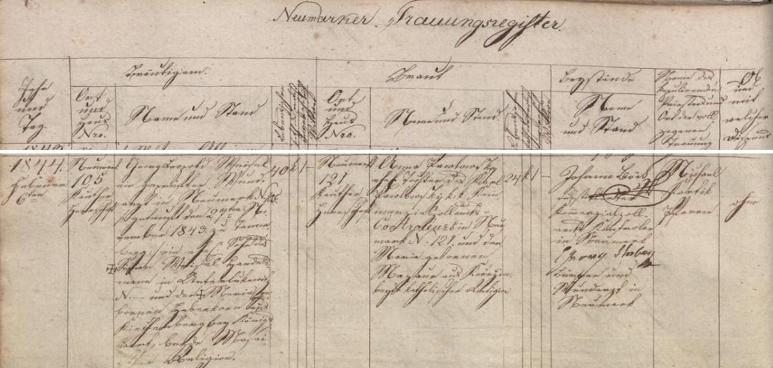 """Německy psaný záznam všerubské oddací matriky o jeho zdejší svatbě dne 6. února roku 1844 - čtyřicetiletý ženich Georg Leopold Weisel, zkoušený lékař ve Všerubech čp. 105, pokřtěný 27. listopadu 1843, syn Simona Weisela, obchodníka v Dolní Lukavici (Unterlukawitz) a Marie, roz. Hebenkové """"aus Kirchneuburg bei Königswart"""", obou židovského náboženství, si tu bere za ženu čtyřiadvacetiletou nevěstu Annu Pawlowskou, dceru celního kontrolora Karla Pawlowskyho a jeho ženy Marie, roz. Mazauerové z Kouřimi, obou katolického náboženství"""