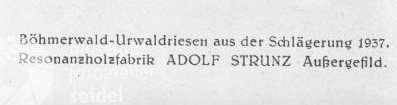"""Vizitka Strunzovy pily na rezonanční dřevo v Kvildě tady upozorňuje, že zpracovává """"pralesní velikány"""", kácené v roce 1937"""