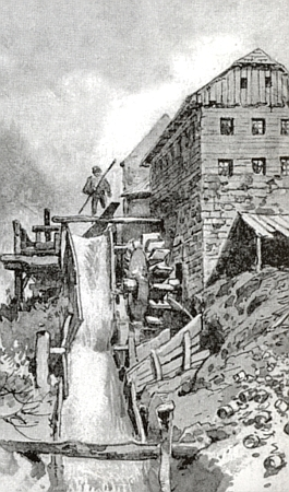 Liebscherův obraz soustruhárny na Hamerském potoce při Horské Kvildě
