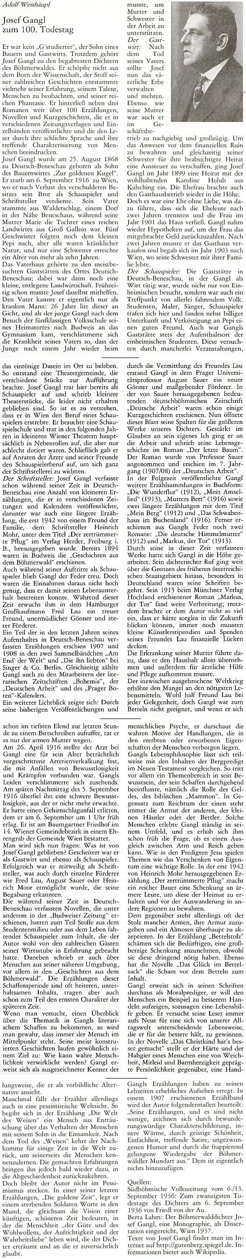 Jeho závažný text ke 100. výročí úmrtí Josefa Gangla