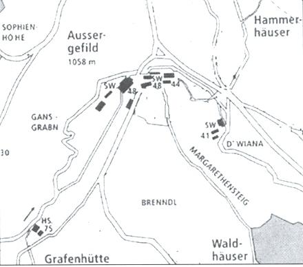 Mapka Kvildy a okolí s čp. 75 v Hraběcí Huti a čp. 44 a 48 na Kvildě
