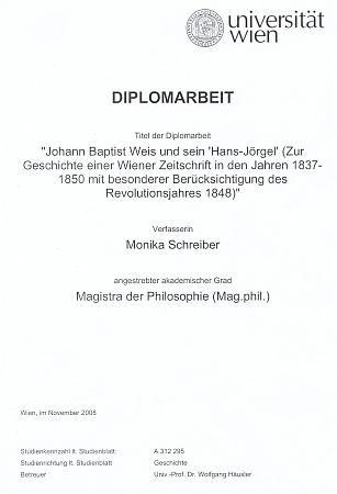 Titulní list (2008) diplomové práce, věnované na vídeňské univerzitě jemu a jeho proslulému periodiku