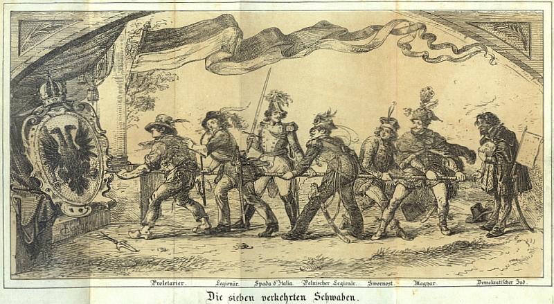 Ilustrace k ročníku 1849 zachycuje proletáře, legionáře, Itala, Poláka, Čecha, Maďara a Žida, jak se chystají rozbořit monarchii