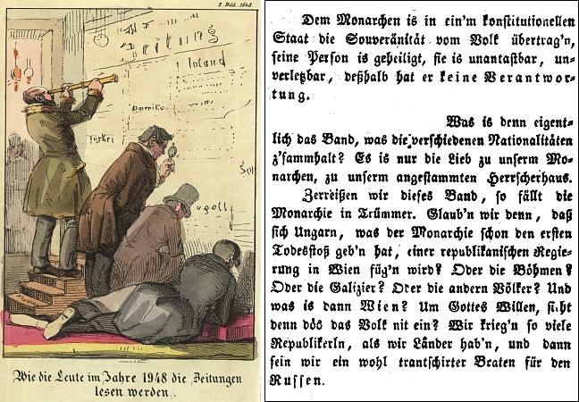 Originální podoba naší textové ukázky a ukázka jedné z ilustrací, doprovázející ročník 1848 jeho listu