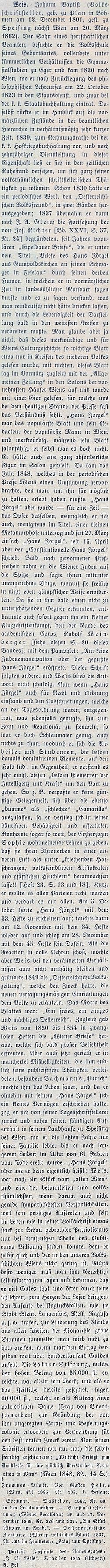 Jeho obsáhlý životopis na stránkách Wurzbachova lexikonu významných rakouských osobností