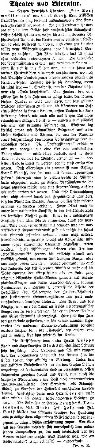 """Recenze jeho zpěvohry """"Die Dorfmuzikanten"""" na stránkách renomovaného pražského listu"""