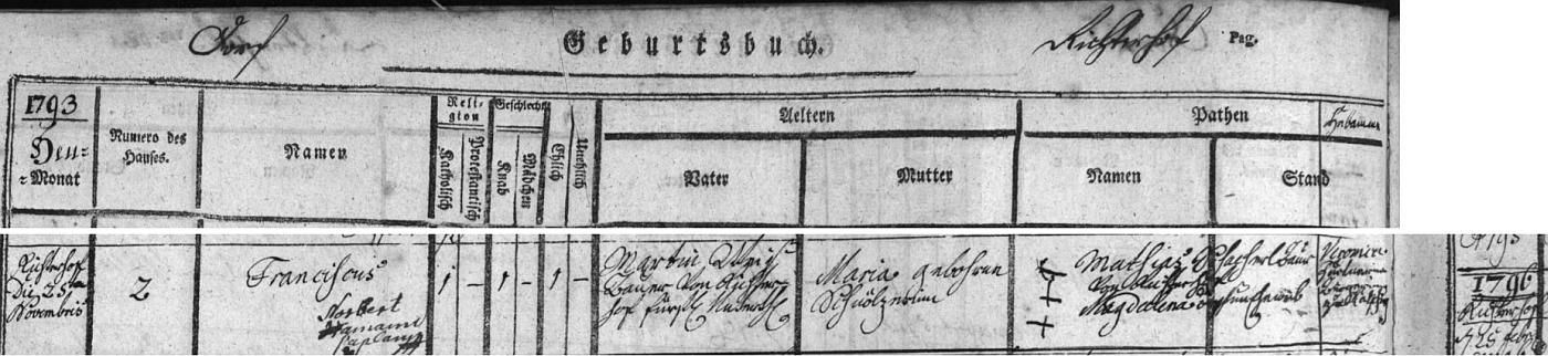 Záznam křestní matriky farní obce Chvalšiny o narození knížecího poddaného Franze Weiße v rodině Martina Weiße ajeho ženy Marie, roz. Schnälzerové, dne 25. listopadu 1793 v osadě Střemily (Richterhof) čp. 2 - k omylu v letopočtu došlo zřejmě chybným čtením textu spolu se záznamem o narození Franzovy sestry na protější straně matriky