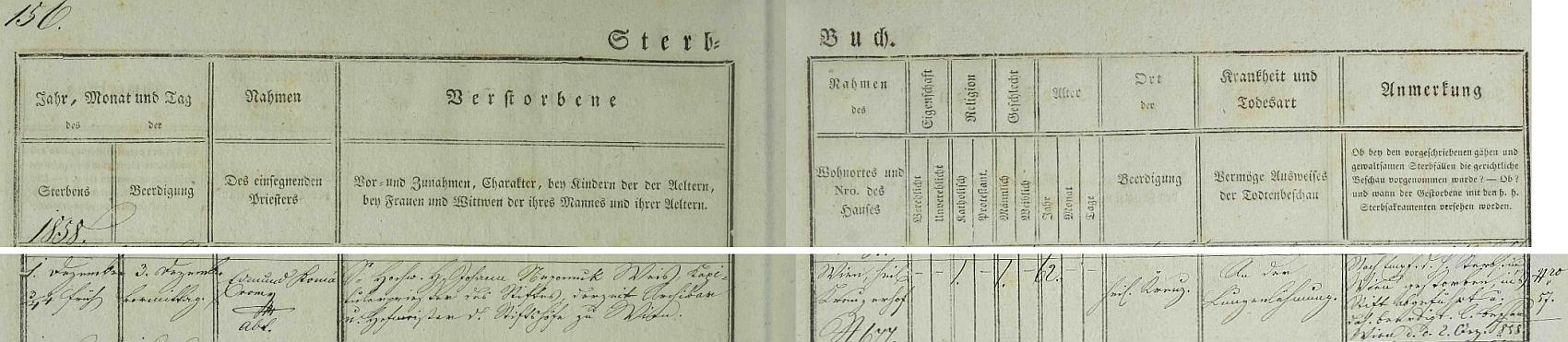 Záznam o jeho skonu v knize zemřelých kláštera Heiligenkreuz