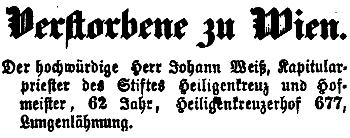 Zpráva o jeho úmrtí na stránkách Wiener Zeitung