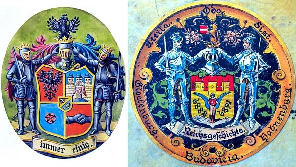 """Dvě barevné varianty spolkových symbolů """"Schlaraffia Budovicia"""""""