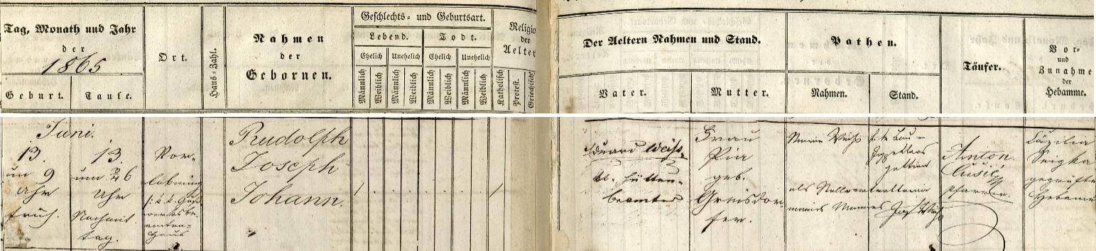 Záznam o jeho narození ve Vorlobmingu v matrice farní obce Sankt Stefan ob Leoben