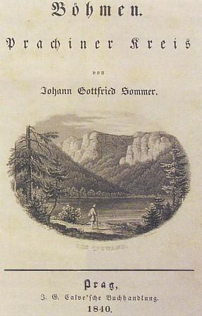 """Jezerní stěna (Seewand) """"plekenštejnská"""" na titulním listě Sommerova popisu Prácheňského kraje"""