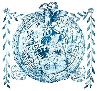 """Znak spolku Schlaraffia Budovicia, jehož členové se navzájem oslovovali přídomkem """"rytíř"""""""