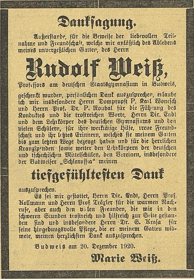 ... a manželčino poděkování za projevy účasti v českobudějovickém německém listu