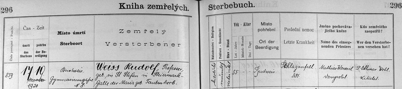 """Záznam v českobudějovické """"Knize zemřelých"""" uvádí jako místo jeho narození Sankt Stefan ve Štýrsku"""