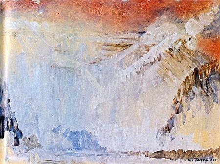 Plešné jezero ve zlatobílém zimním hávu na obraze Jiřího Rejžka zroku 1977...