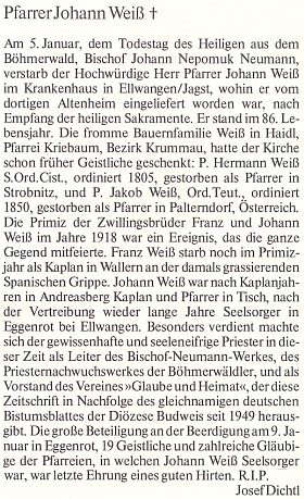 Nekrolog, jehož autorem je Josef Dichtl, na stránkách krajanského časopisu