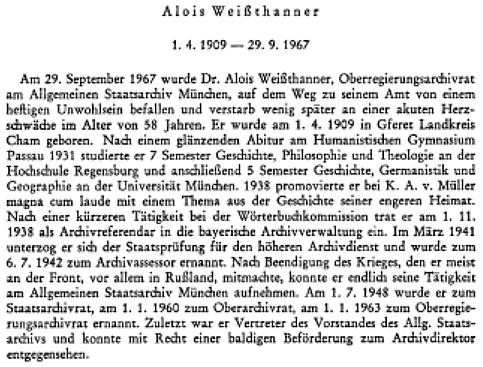 Úvod nekrologu v 64. ročníku časopisu Archivalische Zeitschrift uvádí přesná data Weissthannerova narození aúmrtí