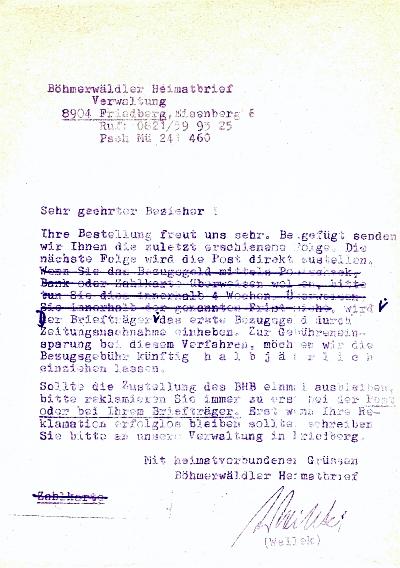 Jím podepsaná nabídka odběru krajanského měsíčníku jako příloha jeho lednového čísla z roku 1971