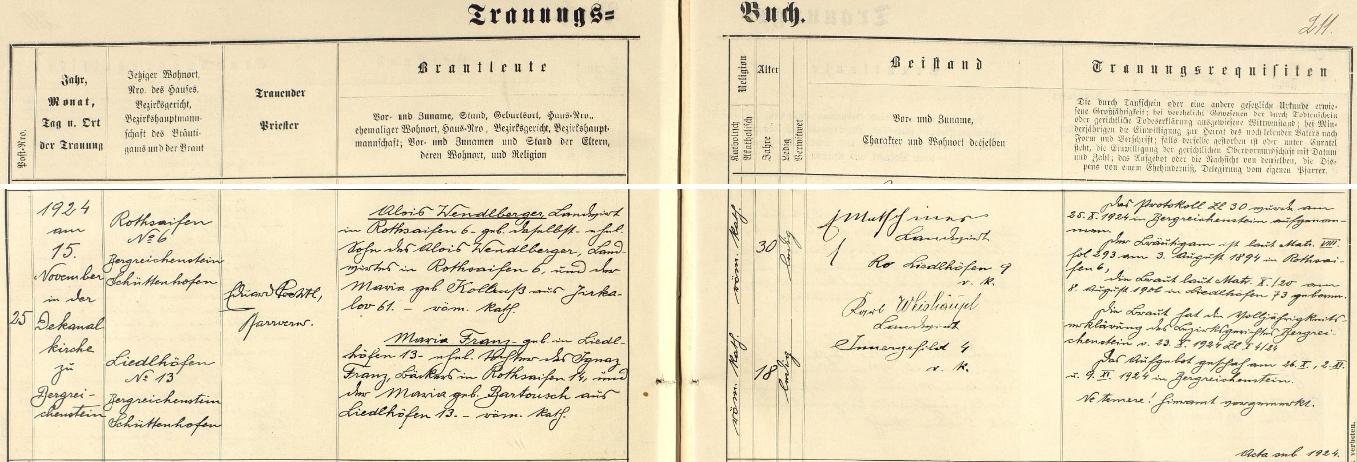 Záznam o svatbě jeho rodičů v kašperskohorské matrice