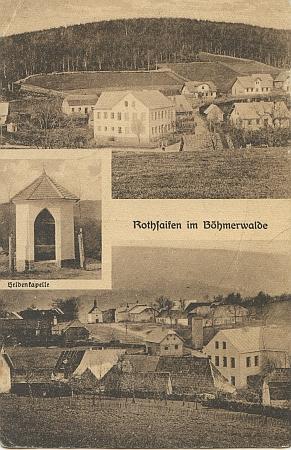 Na těchto dvou pohlednicích je patrné, že rodná obec se psala německy věru různě