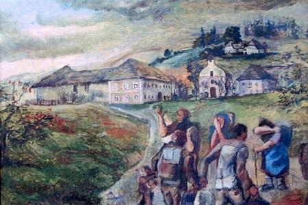 V kapli je umístěný i obraz, zachycující poválečné vysídlení německých obyvatel obce