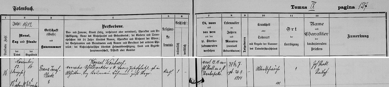 Záznam o jeho úmrtí v knize zemřelých hornorakouského Steyru