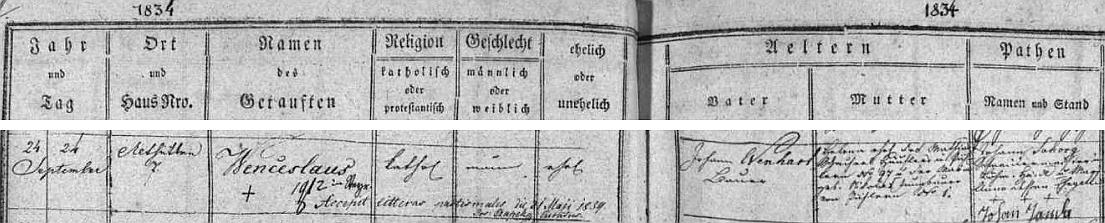 Záznam v hodňovské matrice o jeho narození ve Staré Huti čp. 7 rolníku Johannu Wenhartovi a jeho ženě Heleně, roz. Schacherlové, rodem z Pihlova