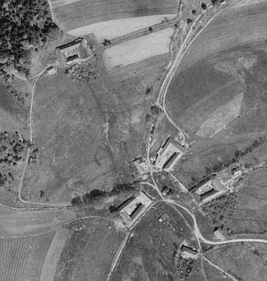 Stará Huť na leteckých snímcích z let 1947 a 2008