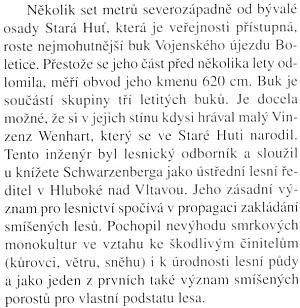 """Odstavec o něm z knihy o """"podivuhodných stromech"""", v tomto případě na území přístupné části boletického vojenského újezdu"""